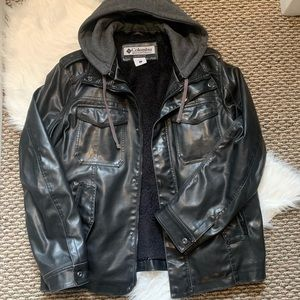 Columbia Faux Leather Bomber Jacket with Knit Hood
